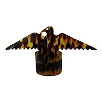 Old Faux Tortoise Shell Celluloid EAGLE Figural Napkin Holder