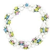 Vintage 2-Strand Flower Spring is Here Necklace Plastic 1950s