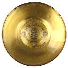 Vintage U.S. Senate Brass Bowl Plate Ashtray w/ Glass Inlay