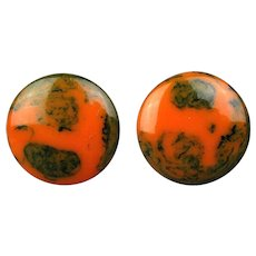 1940s End of Day Bakelite Swirl Clip Earrings