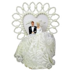 Vintage Bride and Groom Wedding Cake Topper Faux Pearl Heart
