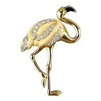 Vintage Enamel Rhinestone Flamingo Pin