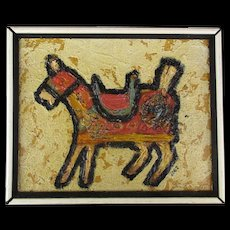 Vintage Primitive Style Painting of a Horse Signed JOEZ - Red Tag Sale Item