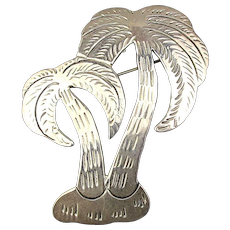 Sterling Silver Etched Palm Tree Pin Pendant