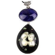 Vintage Blister Pearls in Lucite Pendant Necklace