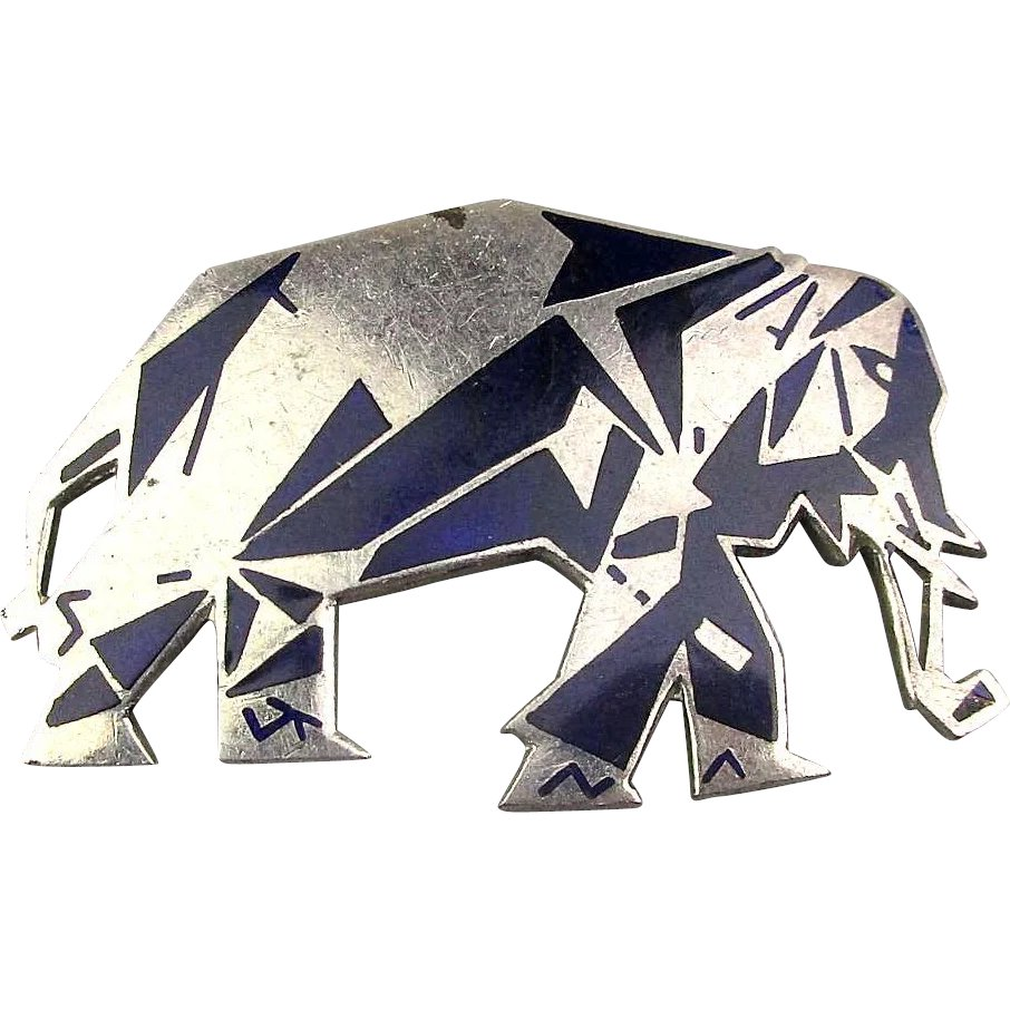 art deco elephant pin enamel geometric black on silvertone design greatvintagestuff ruby lane. Black Bedroom Furniture Sets. Home Design Ideas