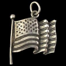 Vintage Sterling Silver U.S. American Flag Charm 32 Stars Pendant