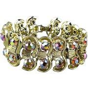 Wide Gorgeous Rhinestone Bracelet Aurora Borealis Glam
