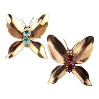 Kaleidoscope of Vintage Butterfly Pins w/ Rhinestones 1940s Pair