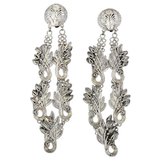 Vintage Java Sterling Silver Filigree Long Clip Earrings Signed