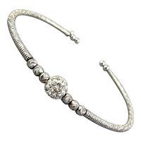 Vintage Italian Sterling Silver Crystal Ball Wire Bracelet
