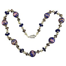 Vintage Wedding Cake Venetian Art Glass Bead Necklace