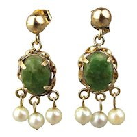 Estate 14K Gold Jade Pearl Earrings Dainty Dangles
