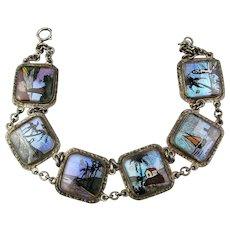 Vintage c1930 Butterfly Wing Bracelet w/ 6 Scenic Links