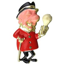 1950s Mr. Magoo Figural Hand-Painted Pin G.E. Advertising Promo