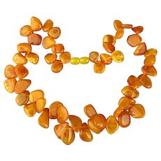 Vintage Egg Yolk Baltic Amber Bead Necklace