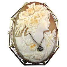 Big Old 14K Gold Carved Shell Cameo Girl Pin Pendant Habille