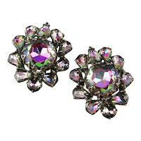 Vintage Watermelon Rhinestone Clip Earrings Rainbow Colors
