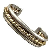 Vintage Cuff Bracelet Sterling Silver Gold-Filled Mixed Metals