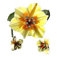 Great Big Enamel Flower Pin Set w/ Earrings Rhinestones
