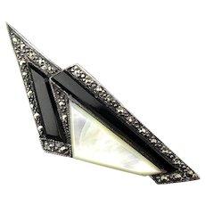 Geometric Sterling Silver Marcasite Pin Brooch w/ MOP Onyx
