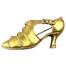 Vintage MMA Metropolitan Museum Art Gilt Shoe Pin Brooch Crystal