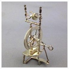 European 835 Silver Miniature Doll House Spinning Wheel Hendrik Hooykaas Works