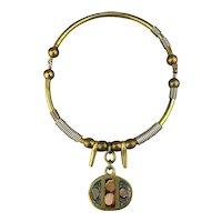 Vintage Grecian Handmade Solid Brass Necklace w/ Inlay
