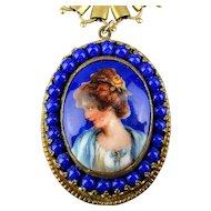 Victorian Woman Porcelain Cameo Pendant Necklace