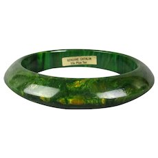 Vintage Marbled Catalin Bakelite Bangle Bracelet w/ Orig. Tag