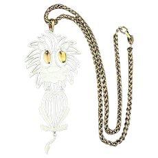 1970s Signed ALAN Enamel Lion Pendant Necklace