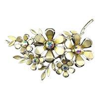 Vintage CORO Flower Bouquet w/ Austian Crystals