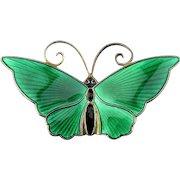 David Andersen Norway Guilloche Enamel Butterfly Pin Sterling Silver