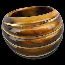 Big Chunky Tiger Eye Ring w/ 14K Gold Stripes