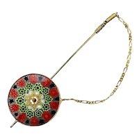 Vintage Millefiori Murano Glass Scarf Stick Pin w/ Star of David