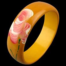 Vintage Bakelite Bangle Bracelet w/ Handpainted Flower