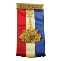 1952 Democratic DELEGATE Presidential Convention Badge / Ribbon Indiana Campaign