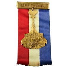 1952 Democratic DELEGATE Presidential Convention Badge / Ribbon Indiana Campaign