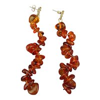 Baltic Amber Bead Corkscrew Dangle Earrings - Pierced