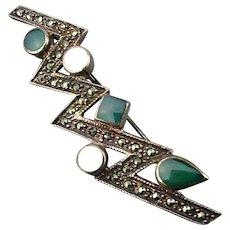 Sterling Silver Bolt of Lightening Pin w/ Marcasite / Gems