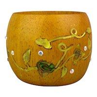 Wide Wood Bangle Bracelet Inlaid w/ MOP - Rhinestones