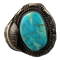 Old Sterling Silver Turquoise Navajo Ring