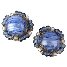 Signed Vintage Miriam Haskell Art Glass Button Earrings