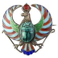 Victorian 800 Silver Egyptian Enamel Watch Pin w/ Scarab
