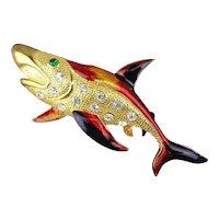Vintage Enamel Rhinestone Pin - Big Shark Fish Figural