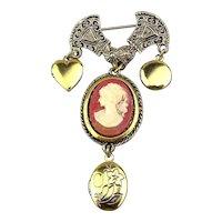 Vintage Cameo Pin w/ 3 Locket Charm Dangles