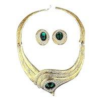 Fabulous 1980s Faux Gold Rhinestone Necklace Earrings Set
