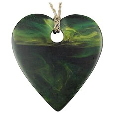 Big Bakelite Heart Pendant Necklace - End-of-Day Teal Colors