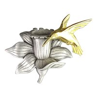 J.J. Jonette Bird on Flower Trembler Pin Brooch