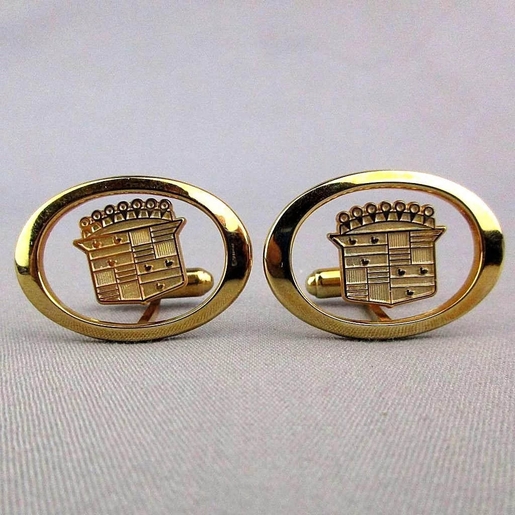 Vintage Cadillac Insignia Jewelry Set His N Hers Cufflinks